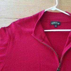 ORVIS Mens Cotton Silk Cashmere 1/4 Zip Sweater XL